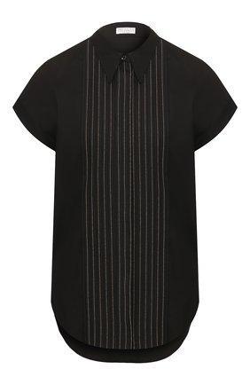 Женская хлопковая блузка BRUNELLO CUCINELLI черного цвета, арт. M0091MH816   Фото 1