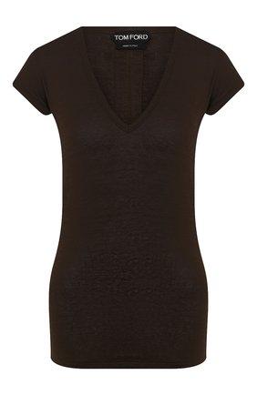 Женская льняная футболка TOM FORD хаки цвета, арт. TSJ320-FAX609 | Фото 1