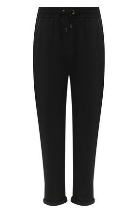 Женские хлопковые брюки BRUNELLO CUCINELLI черного цвета, арт. MH827SA399 | Фото 1