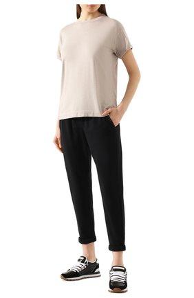 Женские хлопковые брюки BRUNELLO CUCINELLI черного цвета, арт. MH827SA399 | Фото 2