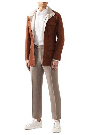 Мужская льняная рубашка BRIONI белого цвета, арт. SCAY0L/PZ114   Фото 2