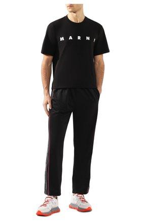 Мужская хлопковая футболка MARNI черного цвета, арт. HUMU0143P0/S22763   Фото 2