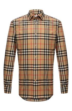 Мужская хлопковая рубашка BURBERRY бежевого цвета, арт. 8020863 | Фото 1