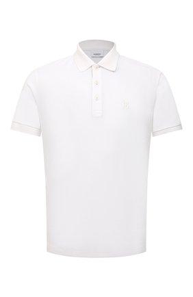 Мужское хлопковое поло BURBERRY белого цвета, арт. 8014005 | Фото 1