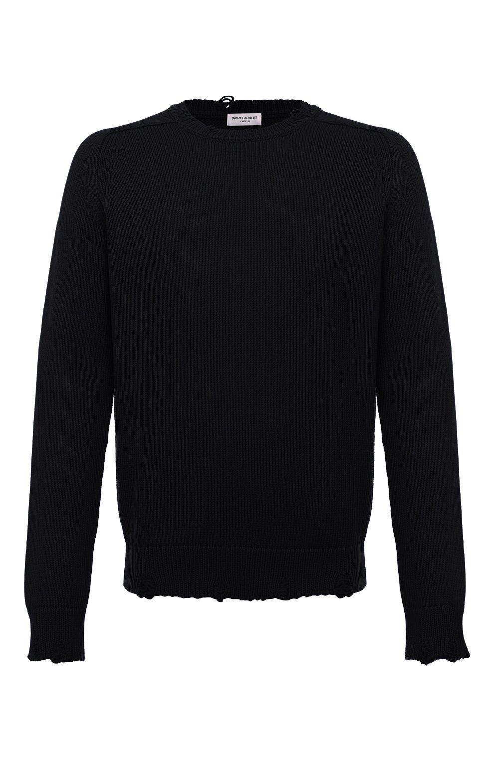 Мужской хлопковый свитер SAINT LAURENT черного цвета, арт. 604798/YAL02 | Фото 1 (Рукава: Длинные; Принт: Без принта; Длина (для топов): Стандартные; Стили: Гранж; Материал внешний: Хлопок; Мужское Кросс-КТ: Свитер-одежда; Статус проверки: Проверена категория)