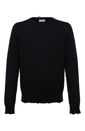 Мужской хлопковый свитер SAINT LAURENT черного цвета, арт. 604798/YAL02 | Фото 1 (Материал внешний: Хлопок; Принт: Без принта; Длина (для топов): Стандартные; Рукава: Длинные; Мужское Кросс-КТ: Свитер-одежда; Статус проверки: Проверена категория; Стили: Гранж)