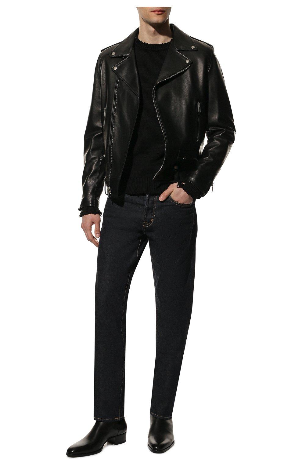Мужской хлопковый свитер SAINT LAURENT черного цвета, арт. 604798/YAL02 | Фото 2 (Рукава: Длинные; Принт: Без принта; Длина (для топов): Стандартные; Стили: Гранж; Материал внешний: Хлопок; Мужское Кросс-КТ: Свитер-одежда; Статус проверки: Проверена категория)