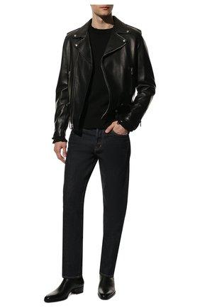 Мужской хлопковый свитер SAINT LAURENT черного цвета, арт. 604798/YAL02 | Фото 2 (Материал внешний: Хлопок; Принт: Без принта; Длина (для топов): Стандартные; Рукава: Длинные; Мужское Кросс-КТ: Свитер-одежда; Статус проверки: Проверена категория; Стили: Гранж)