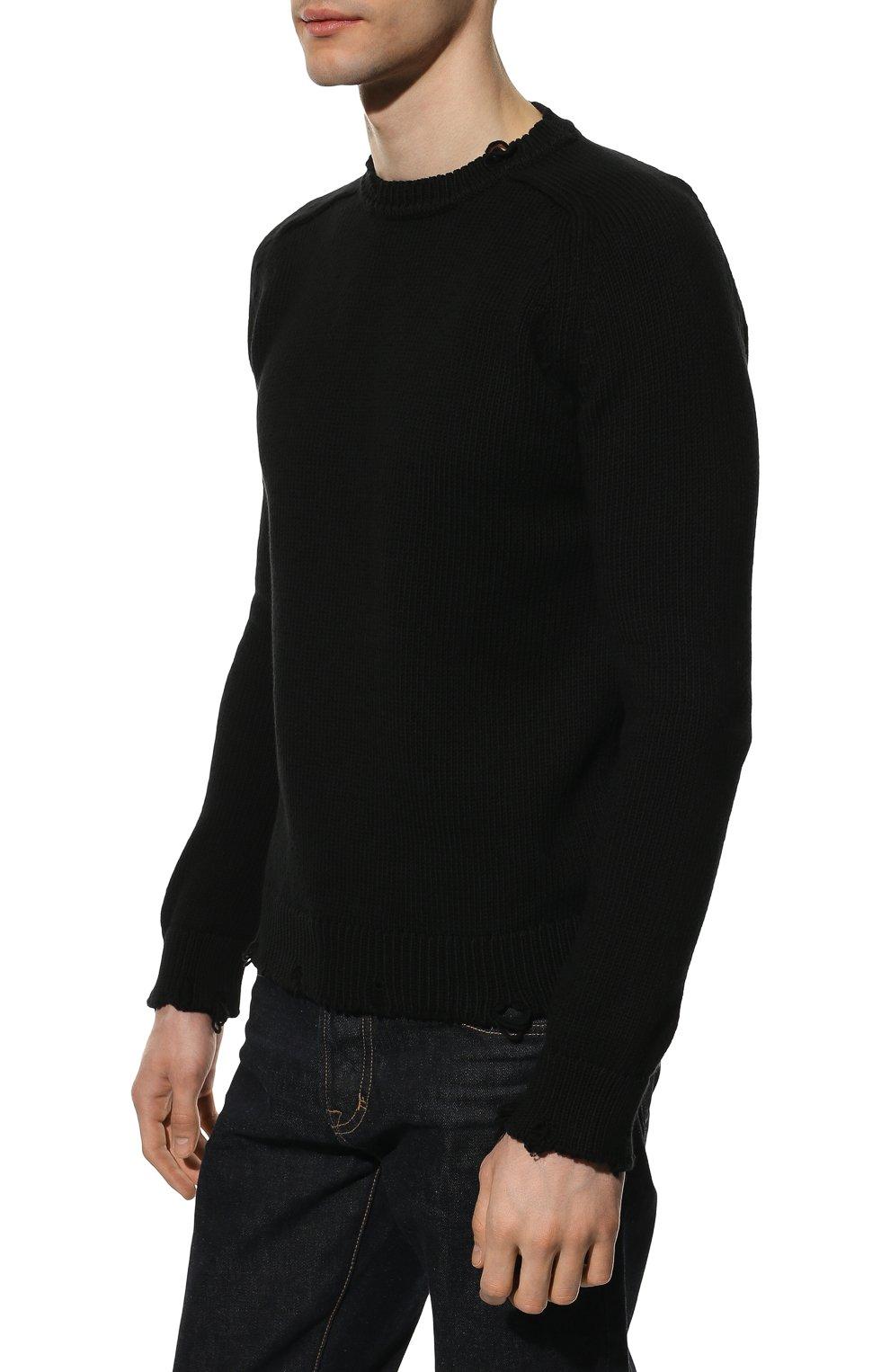 Мужской хлопковый свитер SAINT LAURENT черного цвета, арт. 604798/YAL02 | Фото 3 (Рукава: Длинные; Принт: Без принта; Длина (для топов): Стандартные; Стили: Гранж; Материал внешний: Хлопок; Мужское Кросс-КТ: Свитер-одежда; Статус проверки: Проверена категория)