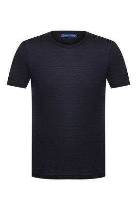 Мужская шелковая футболка ANDREA CAMPAGNA темно-синего цвета, арт. 60133/78301 | Фото 1