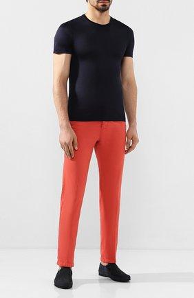 Мужская шелковая футболка ANDREA CAMPAGNA темно-синего цвета, арт. 60133/78301 | Фото 2