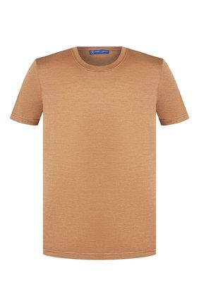 Мужская шелковая футболка ANDREA CAMPAGNA коричневого цвета, арт. 60133/78301 | Фото 1