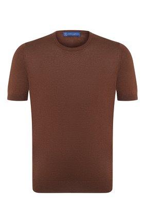Мужской шелковый джемпер ANDREA CAMPAGNA коричневого цвета, арт. 43112/23503 | Фото 1