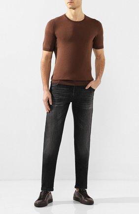 Мужской шелковый джемпер ANDREA CAMPAGNA коричневого цвета, арт. 43112/23503 | Фото 2