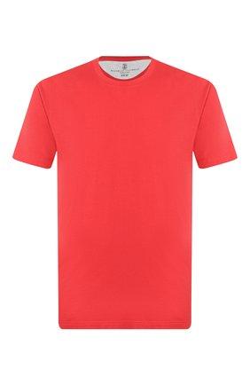Мужская хлопковая футболка  BRUNELLO CUCINELLI красного цвета, арт. M0T611308 | Фото 1 (Материал внешний: Хлопок; Принт: Без принта; Длина (для топов): Стандартные; Стили: Кэжуэл; Рукава: Короткие; Статус проверки: Проверена категория)