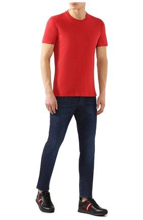 Мужская хлопковая футболка  BRUNELLO CUCINELLI красного цвета, арт. M0T611308 | Фото 2 (Материал внешний: Хлопок; Принт: Без принта; Длина (для топов): Стандартные; Стили: Кэжуэл; Рукава: Короткие; Статус проверки: Проверена категория)