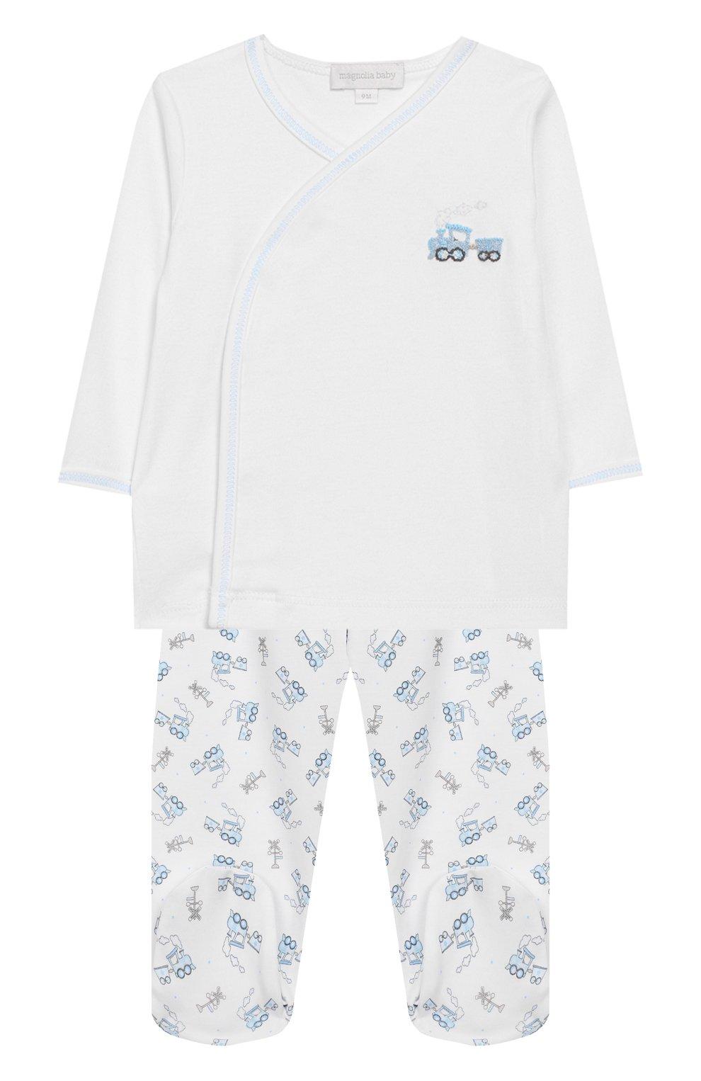 Детский комплект из распашонки и ползунков MAGNOLIA BABY синего цвета, арт. 569-32P-LB | Фото 1