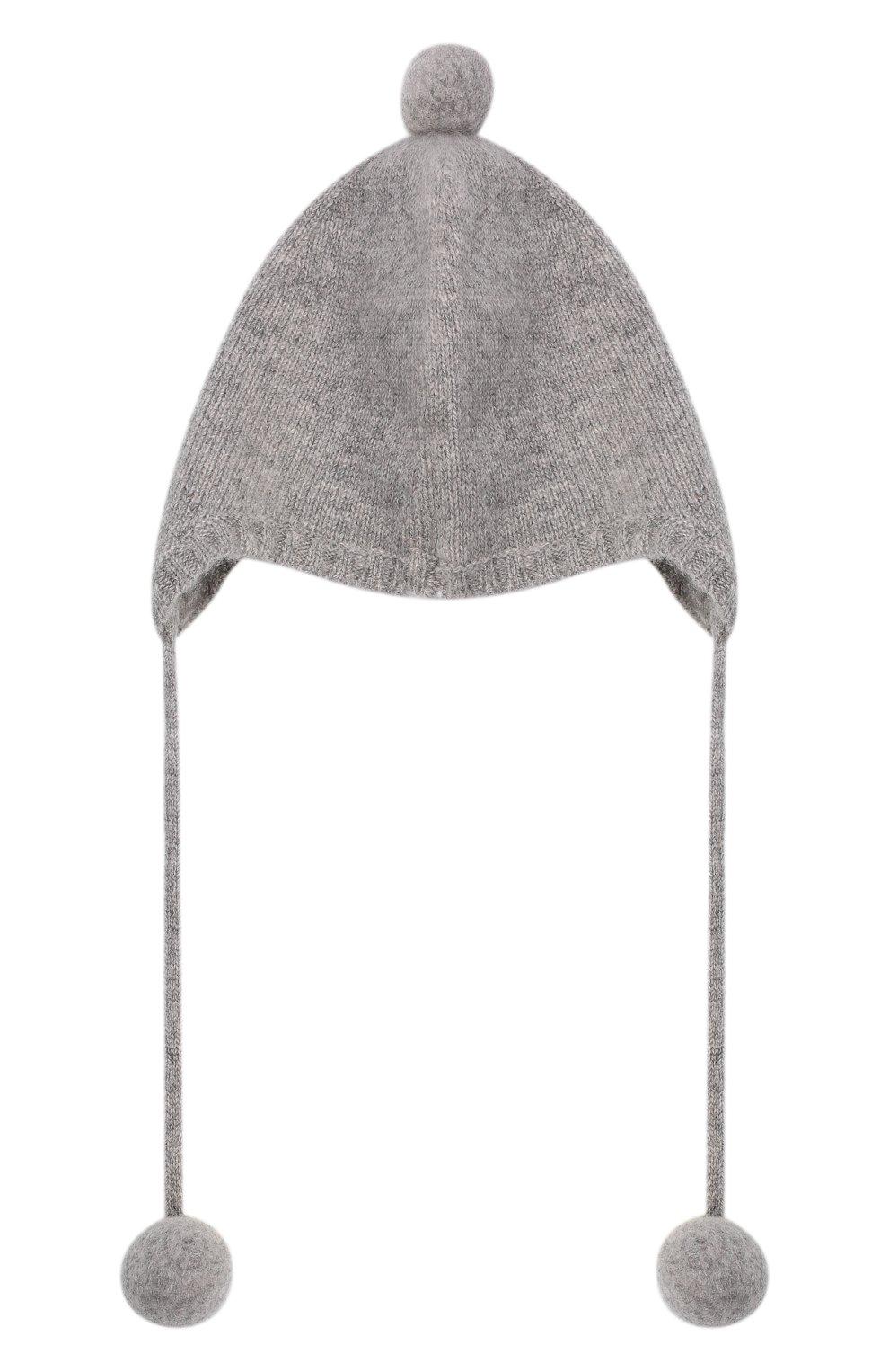 Детского кашемировая шапка OSCAR ET VALENTINE серого цвета, арт. BON01   Фото 2