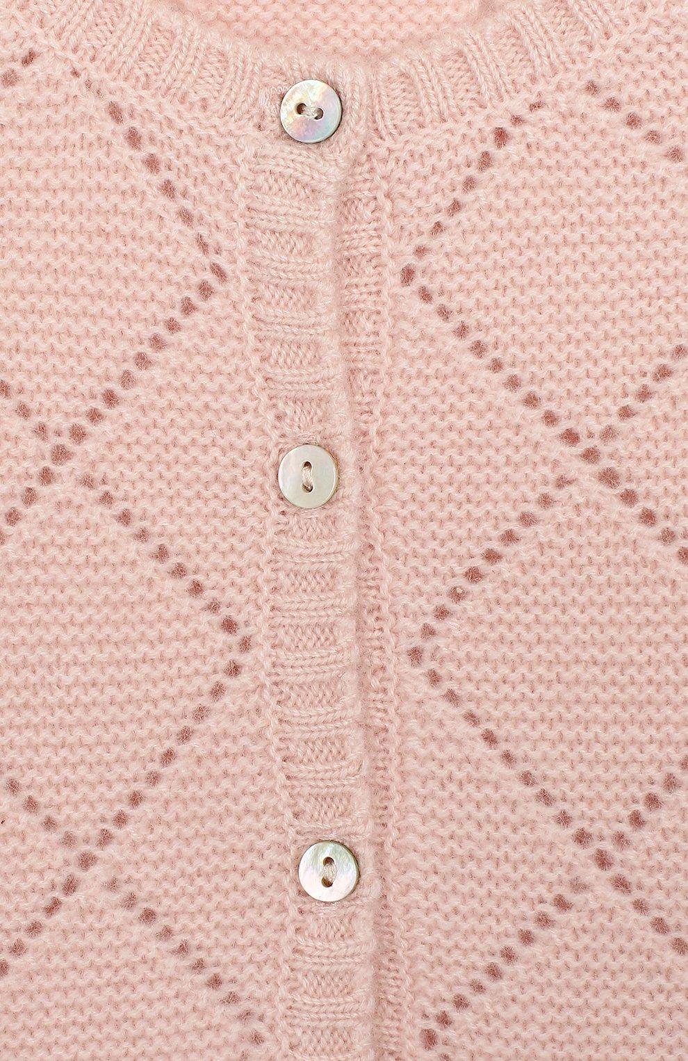 Детский кашемировый кардиган OSCAR ET VALENTINE розового цвета, арт. CAR03S | Фото 3