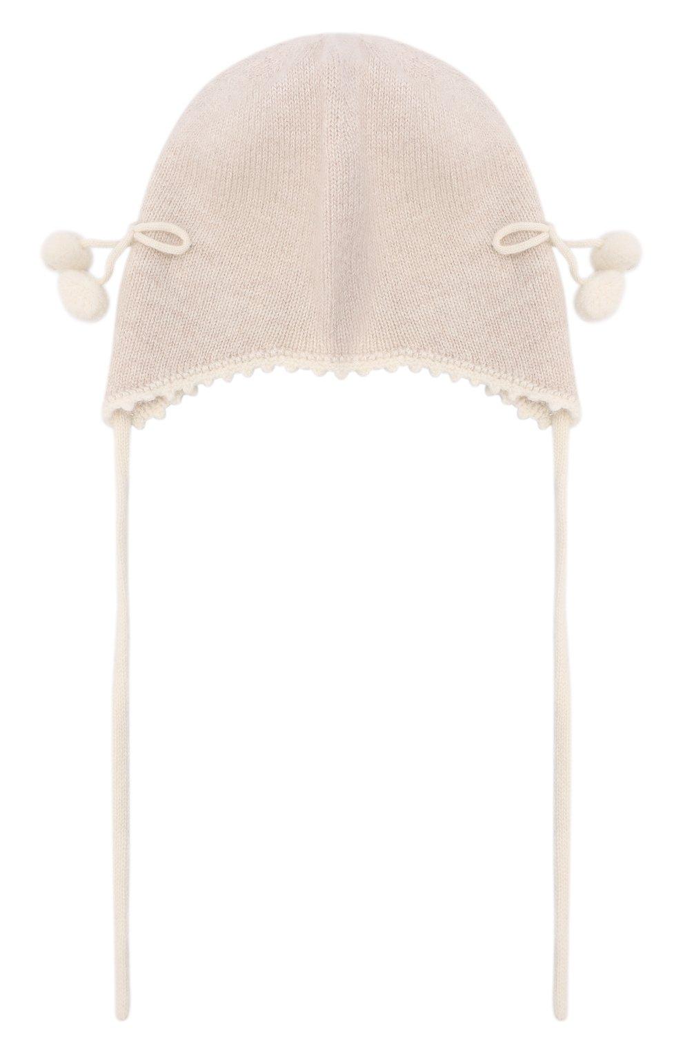 Детского кашемировая шапка OSCAR ET VALENTINE бежевого цвета, арт. BON04CHERRY | Фото 1 (Материал: Кашемир, Шерсть)