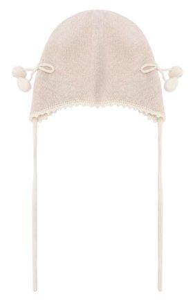 Детского кашемировая шапка OSCAR ET VALENTINE бежевого цвета, арт. BON04CHERRY | Фото 1
