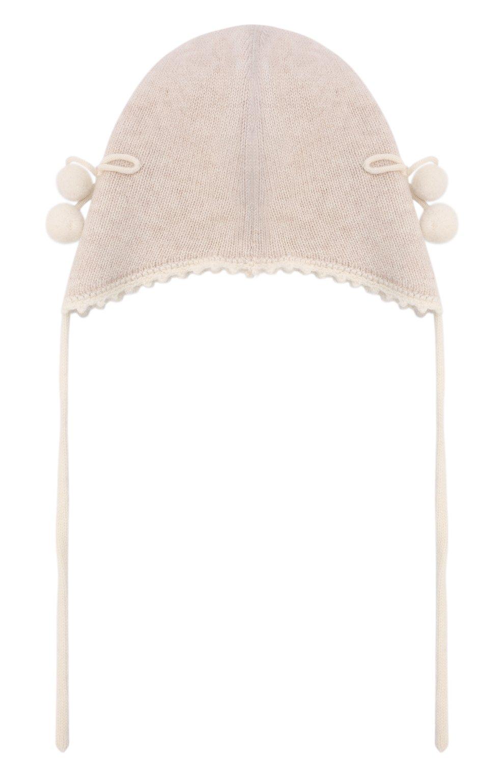 Детского кашемировая шапка OSCAR ET VALENTINE бежевого цвета, арт. BON04CHERRY | Фото 2 (Материал: Кашемир, Шерсть)