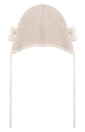 Детского кашемировая шапка OSCAR ET VALENTINE бежевого цвета, арт. BON04CHERRY | Фото 2