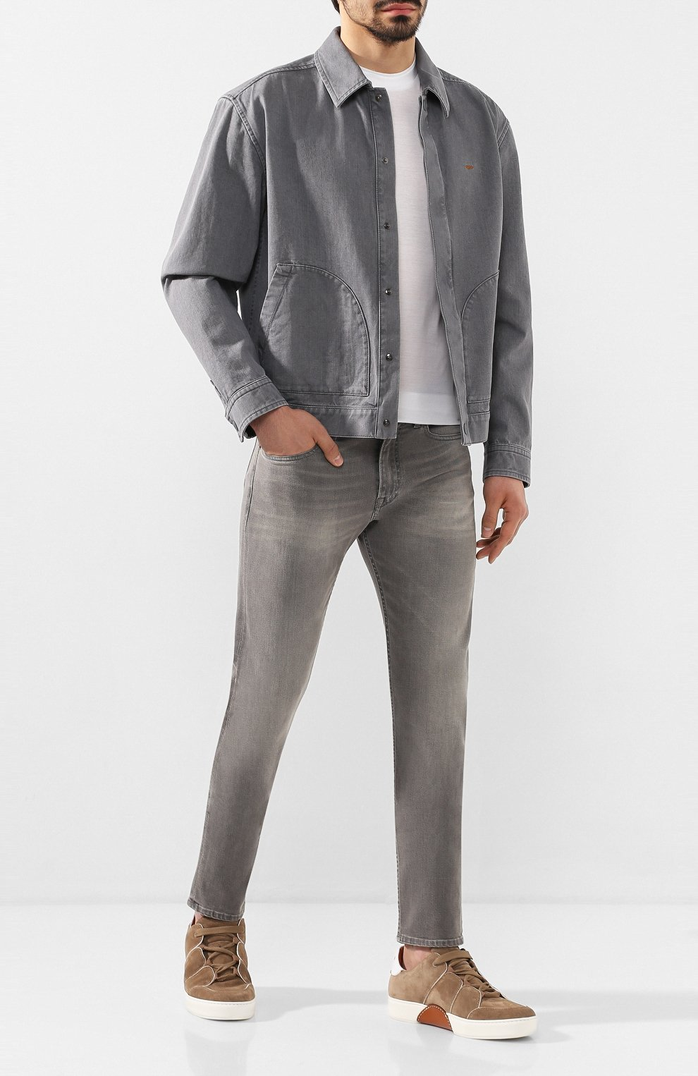 Мужская джинсовая куртка ZEGNA COUTURE серого цвета, арт. CUCD10/7UD42 | Фото 2