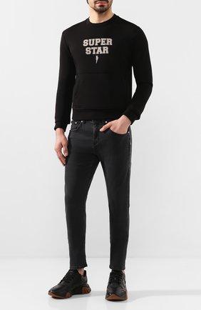 Мужские джинсы NEIL BARRETT темно-серого цвета, арт. PBDE288B/N804T | Фото 2