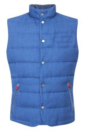 Мужской пуховый жилет KITON голубого цвета, арт. UW0692MV07S57 | Фото 1