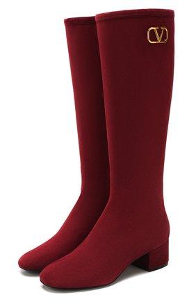 Женские замшевые сапоги valentino garavani vlogo VALENTINO бордового цвета, арт. TW2S0V35/VUR | Фото 1