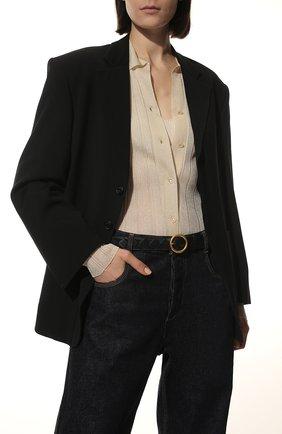 Женский кожаный ремень BOTTEGA VENETA черного цвета, арт. 608559/VCPP5 | Фото 2