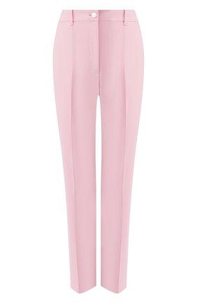 Женские брюки из смеси шерсти и шелка DOLCE & GABBANA светло-розового цвета, арт. FTBPAT/FUBAJ | Фото 1