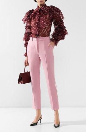Женские брюки из смеси шерсти и шелка DOLCE & GABBANA светло-розового цвета, арт. FTBPAT/FUBAJ | Фото 2