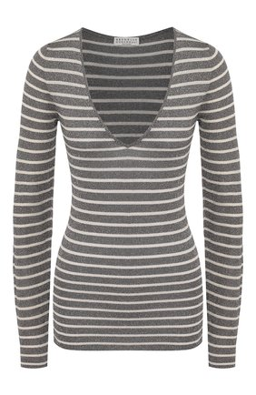 Женская пуловер из вискозы BRUNELLO CUCINELLI серебряного цвета, арт. M8S864542   Фото 1