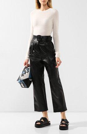 Женские брюки с поясом SELF-PORTRAIT черного цвета, арт. RS20-130 | Фото 2