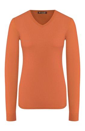 Женский кашемировый пуловер LORO PIANA оранжевого цвета, арт. FAI9433   Фото 1 (Материал внешний: Шерсть, Кашемир; Длина (для топов): Стандартные; Женское Кросс-КТ: Пуловер-одежда; Рукава: Длинные; Стили: Классический, Кэжуэл, Минимализм; Статус проверки: Проверена категория)