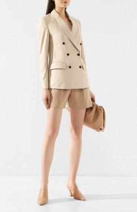 Женский кожаный жакет BRUNELLO CUCINELLI кремвого цвета, арт. MPTAN8867 | Фото 2