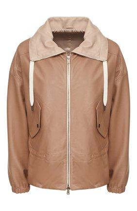 Женская кожаная куртка BRUNELLO CUCINELLI бежевого цвета, арт. MPTAN8526 | Фото 1
