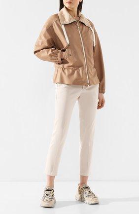Женская кожаная куртка BRUNELLO CUCINELLI бежевого цвета, арт. MPTAN8526 | Фото 2