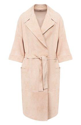 Женское замшевое пальто BRUNELLO CUCINELLI светло-розового цвета, арт. MPCAF9448 | Фото 1