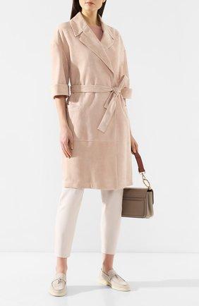 Женское замшевое пальто BRUNELLO CUCINELLI светло-розового цвета, арт. MPCAF9448 | Фото 2