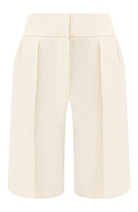 Женские шорты из смеси льна и хлопка BRUNELLO CUCINELLI кремвого цвета, арт. MF591P7262 | Фото 1