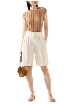 Женские шорты из смеси льна и хлопка BRUNELLO CUCINELLI кремвого цвета, арт. MF591P7262 | Фото 2