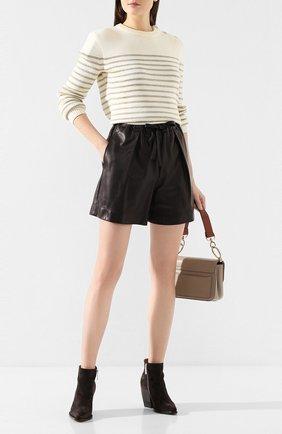 Женские кожаные шорты BRUNELLO CUCINELLI черного цвета, арт. M0GREP7205 | Фото 2