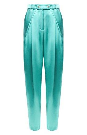 Женские шелковые брюки BALMAIN бирюзового цвета, арт. TF15219/190S | Фото 1