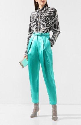 Женские шелковые брюки BALMAIN бирюзового цвета, арт. TF15219/190S | Фото 2