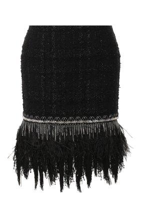 Женская юбка с отделкой перьями BALMAIN черного цвета, арт. TF14000/X344 | Фото 1