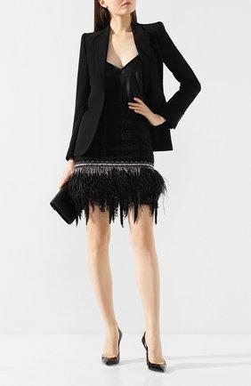 Женская юбка с отделкой перьями BALMAIN черного цвета, арт. TF14000/X344 | Фото 2