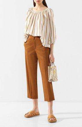 Женская блузка из смеси хлопка и вискозы FORTE_FORTE золотого цвета, арт. 7076 | Фото 2